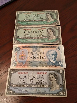 1954 Bank of Canada $5  Plus 2 x $1 and 1979 $5