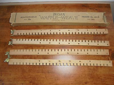 Vintage 1940s Bucilla Waffle Weave Adjustable Weaving Loom Maple Wood Crafts