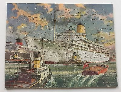 Vintage Hayter Victory Wood Jigsaw Puzzle P & O Liner Arcadia England COMPLETE