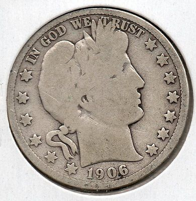 Nice Early Year 1906 D Barber Half Dollar Buy it Now Free Shipping in USA