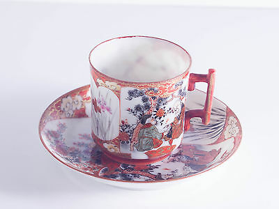 Oriental duo coffee cup & saucer. China Porcelain. Hand painted & signed.