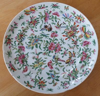 Antique Chinese Famille Rose Hand Painted Plate (Flowers, Butterflies, Birds)