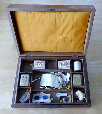 Antique Sewing Box with Lift Out Section, Contents & Key