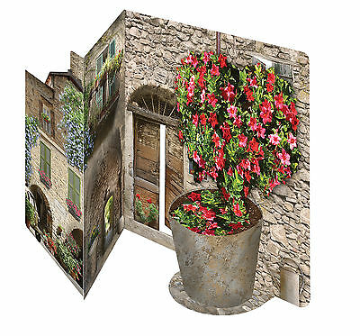 Italian floral courtyard 3D greeting card celebration birthday anniversary