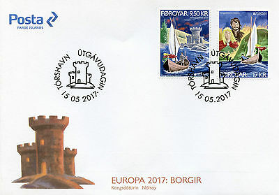 Faroes Faroe Islands 2017 FDC Castles Europa 2v Cover Architecture Ships Stamps