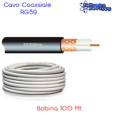 Bobina 100 mt Cavo coassiale RG59 B/U in Rame diam. 6.2 mm
