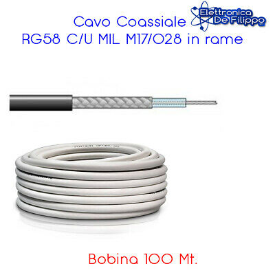 Bobina 100 mt. Cavo Coassiale RG58 C/U MIL M17/028 in rame