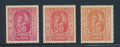 Nepal 69-71 1954 King's Portrait high values NH cat. val is $75 for H
