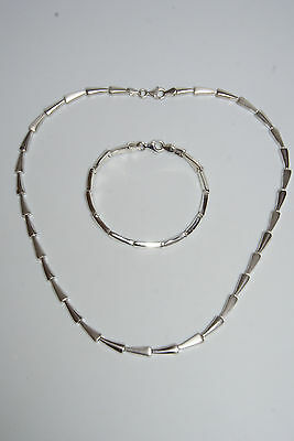 "925 Sterling Silber Design Kette Collier & Armband ""2-tlg"" silver necklace gest."