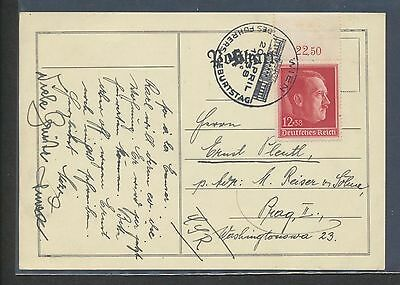 Germany B118 1938 Birthday margin numeral on postal card, 20 April commem cancel