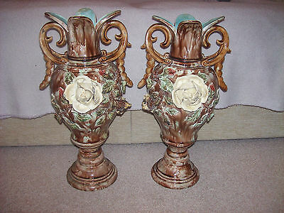 Pair of Italian Majolica Vases late 19th century/early 20th century