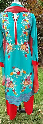 Pakistani/Indian Shalwar/Salwar Kameez  Cotton with embroidery Stitched New