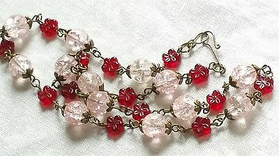 Czech Pink Crackle And Red Flower Glass Bead Necklace Vintage Deco Style
