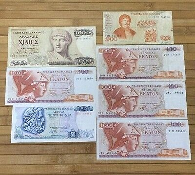 Old Greece 7 Banknotes 50 100 200 1000 Drachmes Currency Lot Greek Notes