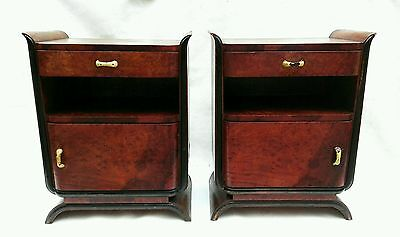 Antique Splendid Pair French Art Deco Burl Walnut Bedside Nightstands c1940