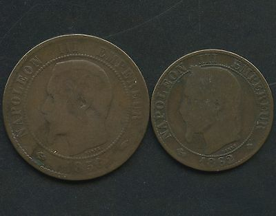France 1862 'BB' 5 Centimes & 1856 'A' 10 Centimes