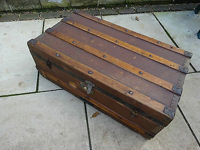 Vintage Steamer Trunk Shipping Chest Early 1900