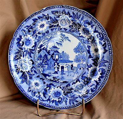 English Georgian Staffordshire Blue&White Plate with Zebra (Rogers & Son c.1825)