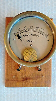 Vintage W.E C.Co Voltmeter  Antique Volt meter 0 - 130  metal mounted wood RARE