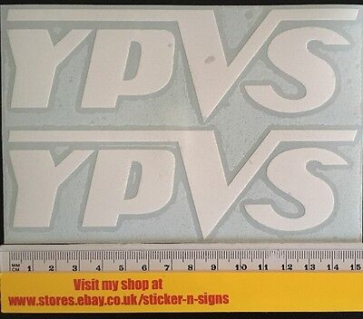 2x White YPVS Sticker Decal 150mm X 47mm Stickers Decal