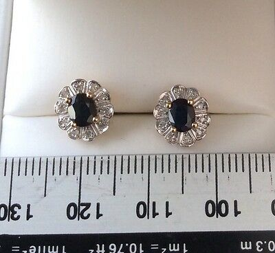 Exquisite Diamond And Sapphire Earrings Set In 9 Carat Yellow Gold