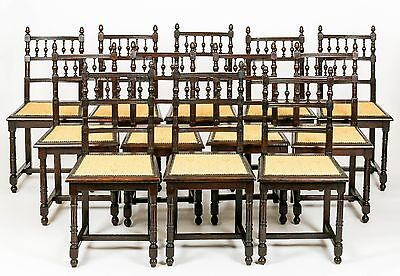Antique Set of 12 French Oak Country Dining Chairs 19th C Upholstery Furniture