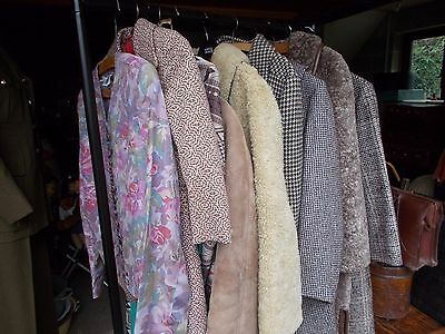 Job lot of vintage ladies coats and clothing including tweed and sheepskin