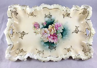 RS Prussia Hand Painted Floral Dresser Tray Gold Trim Display Plate With Hanger