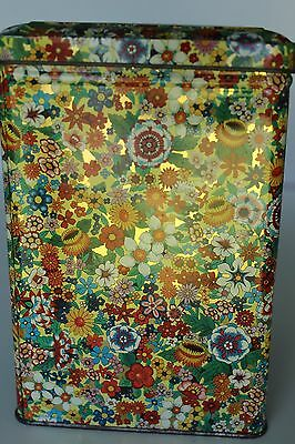 Vintage Large Daher Floral Square Tin Canister Hinged Lid Made in England NICE