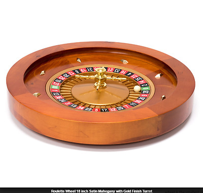 Roulette Wheel 18 Inch Satin Mahogany With Gold Finish Turret