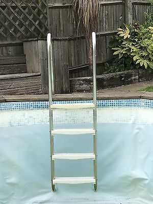 In-Pool Steel Ladder With Four Plastic Steps For Swimming Pool, Bolt-on