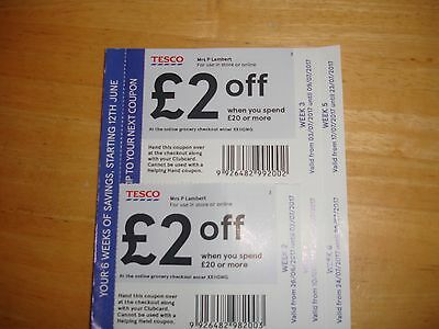 TESCO VOUCHERS COUPONS £2 off£20 FOR NEXT 5 WEEKS VALID 26/06/2107 TO 23/07/2017