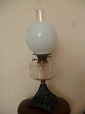 Oil lamp. Victorian + glass shade & chimney.