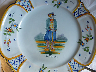 Ancienne ASSIETTE FAIENCE DE QUIMPER HENRIOT DECOR BRETON