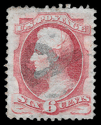 "WCstamps: U.S. Scott #137 / $450 - 6c Carmine ""H. Grill"", ""P"" Cancel, Used, VF"