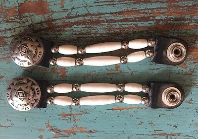 2 Authentic Bone Beaded Vest Extenders  COLOR AND CONCHO MAY VARY Made In USA