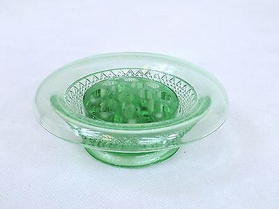 "Vintage Green Glass 12 Hole Flower Frog and Dish ~ 5"" Diameter (792P)"