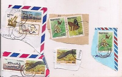 9 NAMIBIA stamps on paper.