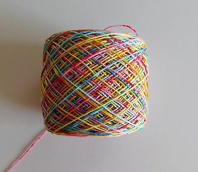 Hand Dyed Crochet Thread Aunt Lydia's Size 10 ( Sugar Candy  )  300 Yds.