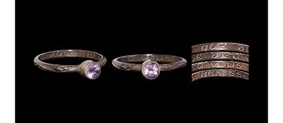 Silver Post Medieval Posy Ring With Amethyst
