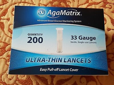 NEW AgaMatrix Ultra-Thin Lancets 33g Pack of 200