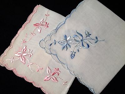 Lovely Two Handkerchiefs Pink & Sky Blue Floral Embroidery Scalloped Edges,