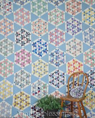 """Best Gift Ever! Simply Stunning Vintage 30s Blue Seven Stars QUILT 98x77"""""""