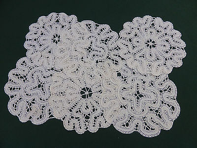 6 Antique Cantu Bobbin Lace Coasters-Cream