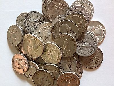 Lot of 40 MIXED DATE WASHINGTON Quarters 90% Silver $10 Face Value