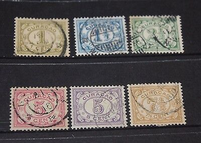 Curacao 1915  S/set Of 6 Number Issues To 7/1/2 C ,f/u