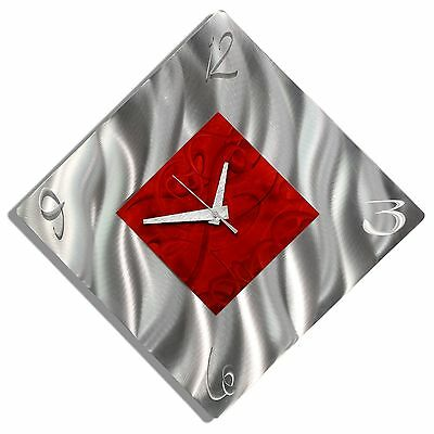Red/Silver Metal Abstract Modern Wall Clock Functional Art Decor - Fresh Start