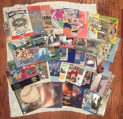 43 DODGERS YEARBOOKS lot 1960-2001 pristine Los Angeles World Series Program too