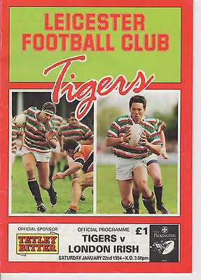 Leicester Rugby Union Programme 22nd Jan 1994 Tigers v London Irish