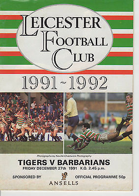 Leicester Rugby Union Programme 27th Dec 1991 Tigers v Barbarians